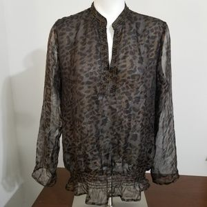Chicos brown animal print top sz 1 Medium